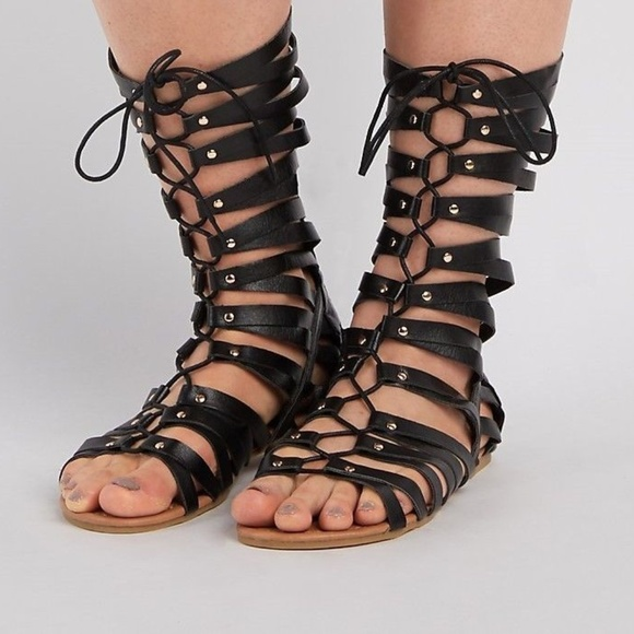 c170b293bb8f Charlotte Russe Shoes - Extended Calf Lace Up Gladiator Sandals 9W